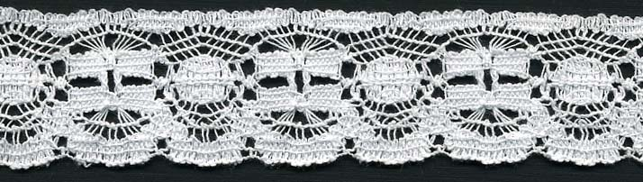 "1.25"" Cotton And Nylon Lever Edge Lace-White"