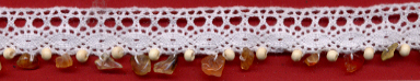 "3/4"" Cluny Edge Lace With Wood Beads and Nuggets-White Lace"