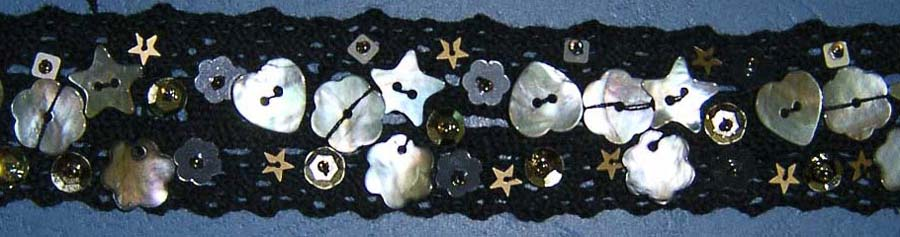 "1 3/16"" Cluny Galloon Lace With Seashells-Black Lace"