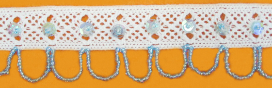 "1 3/8"" Cluny Galloon Lace With Beads and Sequins-White Lace"