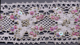 "2+3/16"" Cluny Galloon Lace With Beads and Sequins-White Lace"