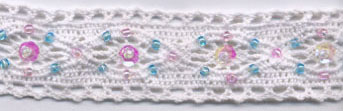 "1"" Cluny Galloon Lace With Beads and Sequins-White Lace"