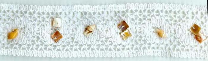 "1.5"" Cluny Galloon Lace With Seashells-White Lace"