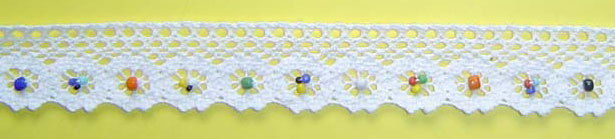 "1"" Cluny Edge Lace With Beads-White Lace"