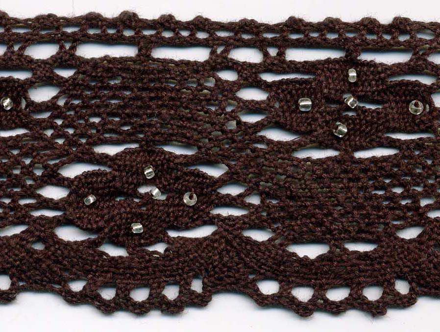 "2+3/8"" Cluny Edge Lace With Silver Beads-Dark Brown Lace"