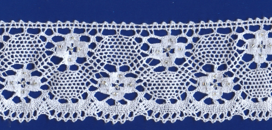 "2 3/8"" Cluny Edge Lace With Silver Beads-White Lace"