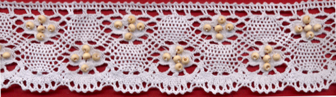 "1.75"" Cotton Cluny Edge Lace With Wood Beads-White"