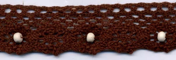 "1"" Cotton Cluny Edge Lace With Wood Beads-Brown"