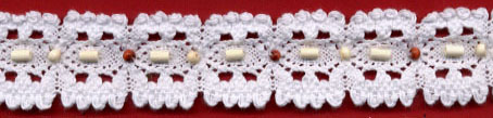 "1.25"" Cotton Cluny Galloon Lace With Wood Beads-White"
