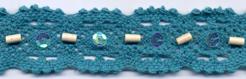 "1.25"" Cotton Cluny Edge Lace With Wood Beads And Sequins-Turquoise"