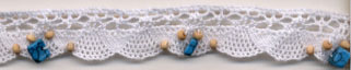 "3/4"" Cotton Cluny Edge Lace With Wood Beads And Turquiose Nuggets-White"
