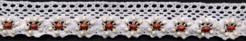 "1"" Cotton Cluny Edge Lace With Wood Beads-White"