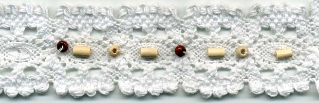 "1.25"" Cotton Cluny Edge Lace With Wood Beads And Sequins-White"