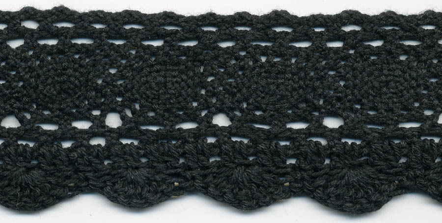 "2 3/16"" Cotton Knit Cluny And Crochet Edge Lace-Black"