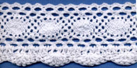 "2 3/16"" Cotton Knit Cluny And Crochet Edge Lace-White"