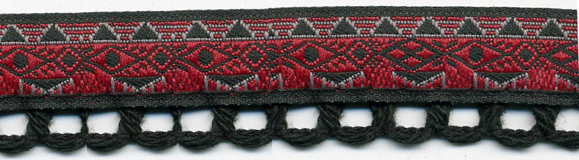 "3/4"" Cotton Botswana Crochet Edge Lace-Black Combo"