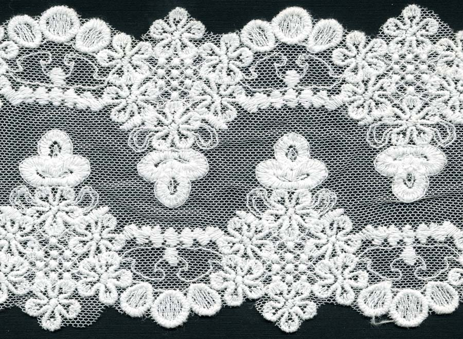 "4"" Cotton Crochet Lace on Mesh-Ivory"