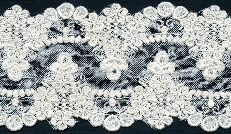 "4"" Cotton Crochet Lace on Mesh-Natural"