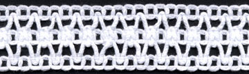 "1 3/16"" Cotton Knit Crochet Galloon Lace-White"