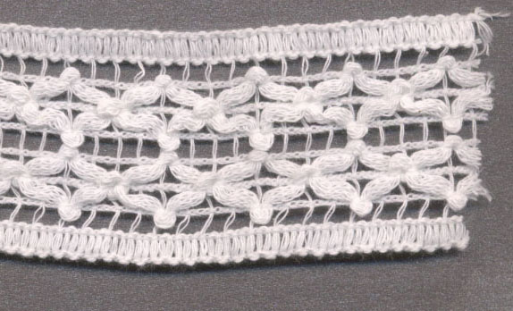 "1.75"" Cotton Knit Crochet Cara Galloon Lace-White"