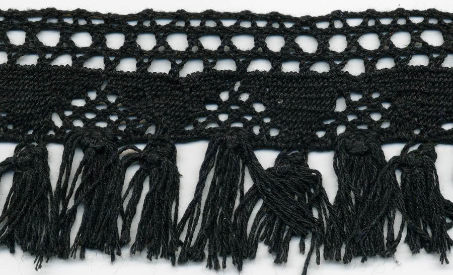 "2.75"" Cotton Crochet Fringe Lace-Black"
