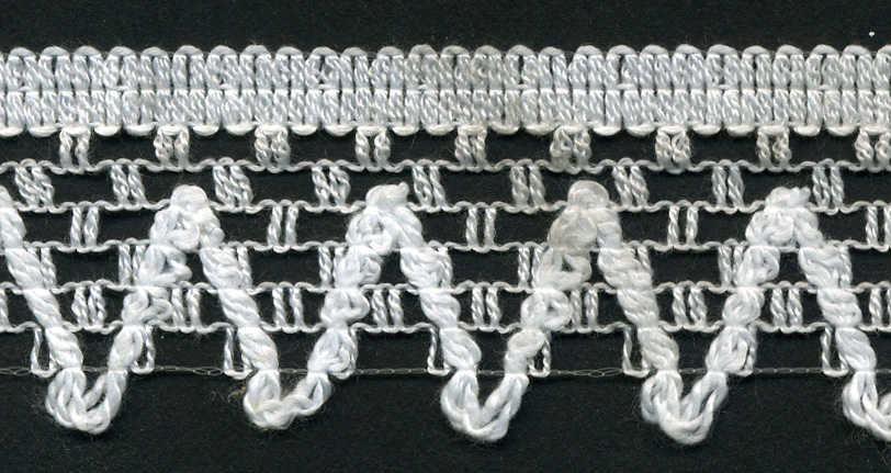 "1"" Poly Knit Edge Lace-White<br>$0.05 per yard, see Special Pricing Tab"