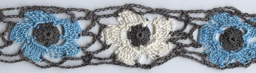 "1.5"" Rayon Floral Crochet Lace-Grey, Aqua, Antique White"