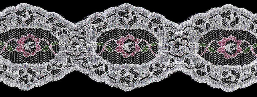 "2-1/2"" Rigid Galloon Lace-Rose/White Combo"