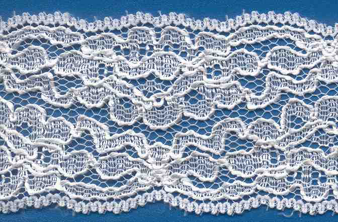 "2-1/8"" Rigid Galloon Floral Lace-White"