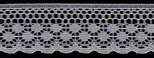 "1-1/8"" Rigid Edge Dot Lace-White<br>Made in USA"