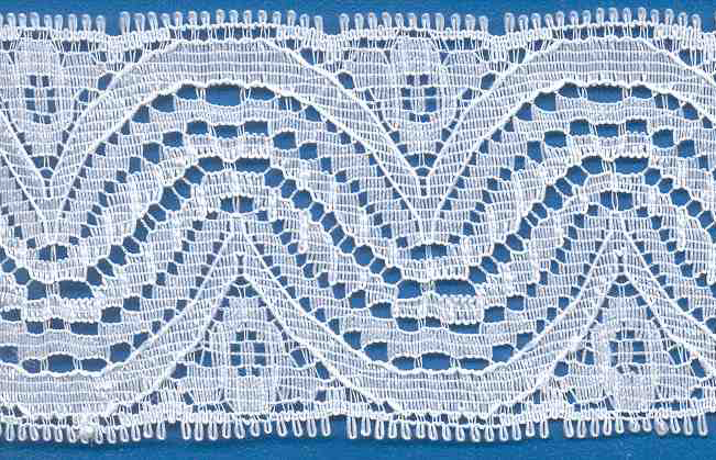 "1-3/4"" Rigid Galloon Wave Lace-White<br>Made in USA"