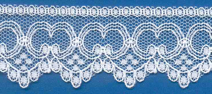 "1-3/8"" Rigid Edge Teardrop Lace-White<br>Made in USA"