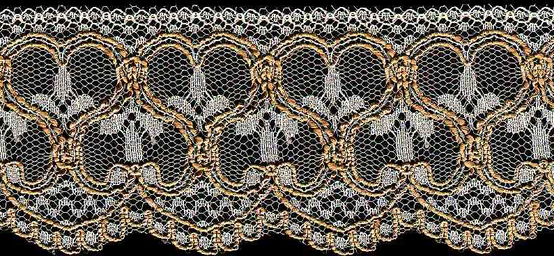 "2-3/8"" Rigid Edge Baroque Lace-Gold/White Combo"