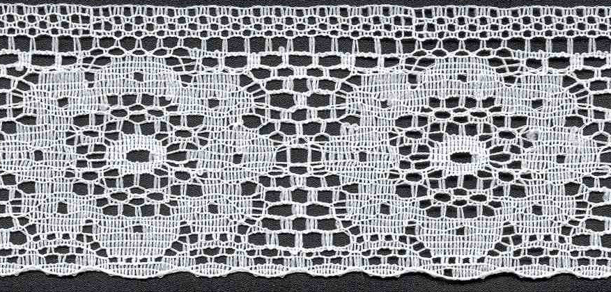 "2"" Rigid Edge Floral Lace-White"