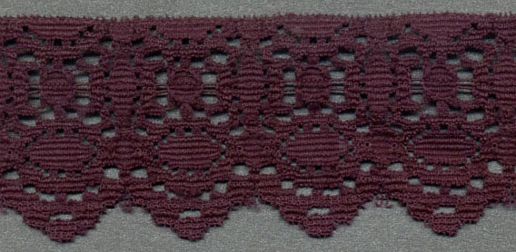 "1+5/8"" Polyester Raschel Lace-Plum"