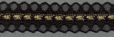 "11/16"" Poly Galloon Raschel Lace-Black/Gold"