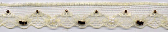 "25MM ""Beaded Lace Edge""-Maize-Brown Beads-White Pearls"