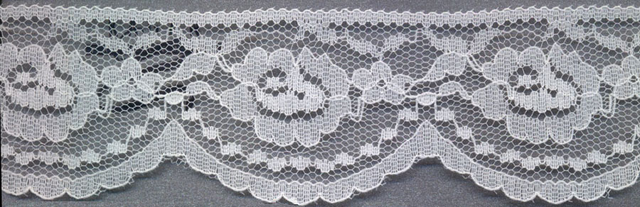 "2.25"" Poly Flat Raschel Lace-Ivory"