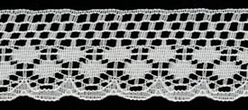 "1.25"" Poly Flat Raschel Lace-Ivory"