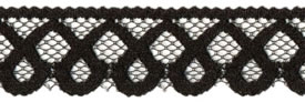 "1"" Poly Flat Raschel Lace-Black"