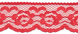 "1"" Poly Flat Raschel Lace-Red"