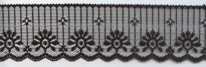 "1.875"" Poly Flat Raschel Lace-Black"