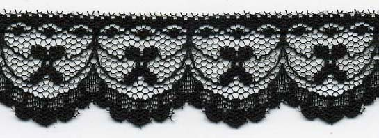 "1.25"" Poly Flat Raschel Lace-Black"