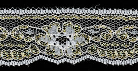 "1+3/8"" Poly Flat Raschel Lace-White/Gold"