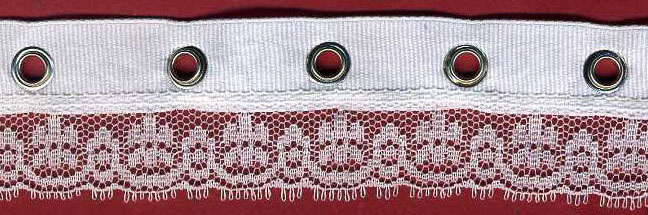 "1+3/16"" Poly Grosgrain+Eyelet Lace-White/Nickel/White"