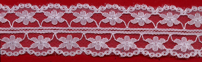 "1+9/16"" Nylon Raschel Lace Galloon-White"