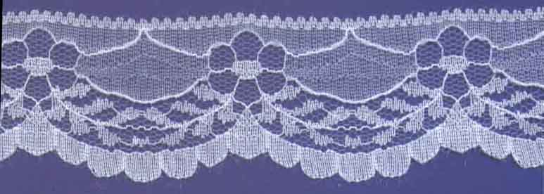 "1+9/16"" Nylon Raschel Edge Lace-White"