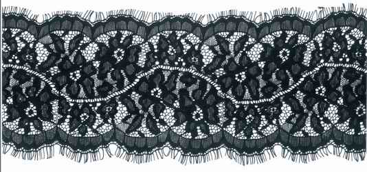 "5.25"" Galloon Lace-Black<>Chantilly / Eyelash Lace"