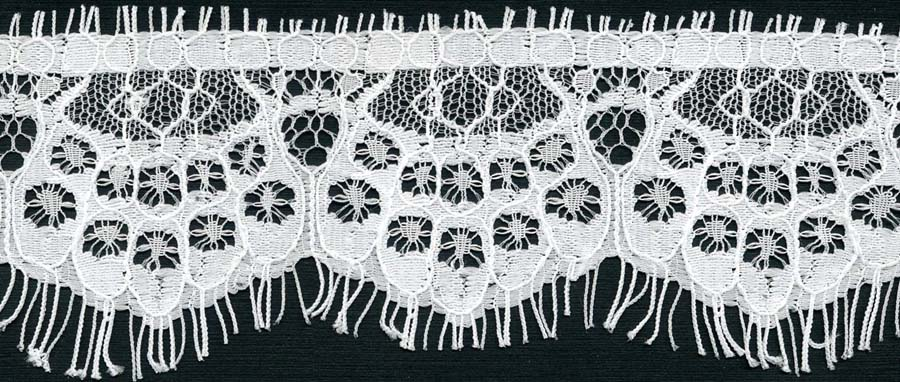 "1.5"" Straight Edge Lace-Raw White<>Chantilly / Eyelash Lace"