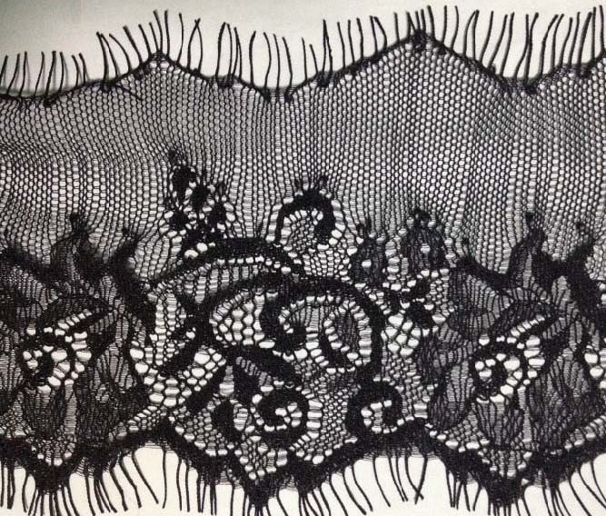 "4"" Double Pointed Edge Lace-Black<>Chantilly / Eyelash Lace"